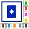 Nine of diamonds card flat framed icons - Nine of diamonds card flat color icons in square frames on white background