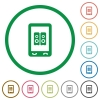 Mobile speakerphone flat icons with outlines - Mobile speakerphone flat color icons in round outlines on white background