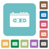 Vintage retro walkman rounded square flat icons - Vintage retro walkman white flat icons on color rounded square backgrounds