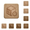 Package shipping time wooden buttons - Package shipping time on rounded square carved wooden button styles