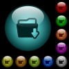 Download folder icons in color illuminated glass buttons - Download folder icons in color illuminated spherical glass buttons on black background. Can be used to black or dark templates