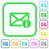 Mail information vivid colored flat icons - Mail information vivid colored flat icons in curved borders on white background