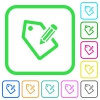 Tagging with pencil vivid colored flat icons - Tagging with pencil vivid colored flat icons in curved borders on white background
