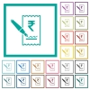 Signing Rupee cheque flat color icons with quadrant frames - Signing Rupee cheque flat color icons with quadrant frames on white background