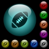 Rugby ball icons in color illuminated glass buttons - Rugby ball icons in color illuminated spherical glass buttons on black background. Can be used to black or dark templates