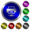 Network printer icons on round luminous coin-like color steel buttons - Network printer luminous coin-like round color buttons