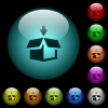 Pack to box icons in color illuminated glass buttons - Pack to box icons in color illuminated spherical glass buttons on black background. Can be used to black or dark templates