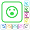 Shocked emoticon vivid colored flat icons in curved borders on white background - Shocked emoticon vivid colored flat icons