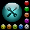 Maintenance icons in color illuminated glass buttons - Maintenance icons in color illuminated spherical glass buttons on black background. Can be used to black or dark templates