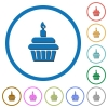 Birthday cupcake icons with shadows and outlines - Birthday cupcake flat color vector icons with shadows in round outlines on white background