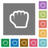 Grab cursor square flat icons - Grab cursor flat icons on simple color square backgrounds