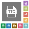 TTC file format square flat icons - TTC file format flat icons on simple color square backgrounds