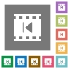 Previous movie square flat icons - Previous movie flat icons on simple color square backgrounds