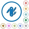 Swiss army knife icons with shadows and outlines - Swiss army knife flat color vector icons with shadows in round outlines on white background