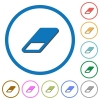 Eraser icons with shadows and outlines - Eraser flat color vector icons with shadows in round outlines on white background