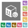 One day package delivery square flat icons - One day package delivery flat icons on simple color square backgrounds