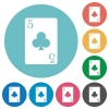 five of clubs card flat round icons - five of clubs card flat white icons on round color backgrounds