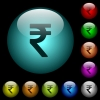 Indian Rupee sign icons in color illuminated glass buttons - Indian Rupee sign icons in color illuminated spherical glass buttons on black background. Can be used to black or dark templates