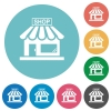 Store front flat round icons - Store front flat white icons on round color backgrounds