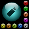 Pendrive icons in color illuminated glass buttons - Pendrive icons in color illuminated spherical glass buttons on black background. Can be used to black or dark templates