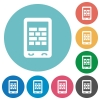 Mobile firewall flat round icons - Mobile firewall flat white icons on round color backgrounds