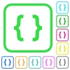 Programming code vivid colored flat icons - Programming code vivid colored flat icons in curved borders on white background