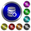 Certified database luminous coin-like round color buttons - Certified database icons on round luminous coin-like color steel buttons