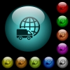 International transport icons in color illuminated glass buttons - International transport icons in color illuminated spherical glass buttons on black background. Can be used to black or dark templates