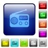 Vintage retro radio color square buttons - Vintage retro radio icons in rounded square color glossy button set