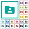Folder owner flat color icons with quadrant frames - Folder owner flat color icons with quadrant frames on white background