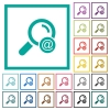Search email address flat color icons with quadrant frames - Search email address flat color icons with quadrant frames on white background