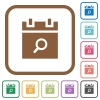 Find schedule item simple icons - Find schedule item simple icons in color rounded square frames on white background