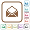 Open mail simple icons - Open mail simple icons in color rounded square frames on white background