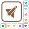 Space shuttle simple icons - Space shuttle simple icons in color rounded square frames on white background