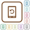 Mobile redial simple icons - Mobile redial simple icons in color rounded square frames on white background