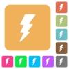 Lightning rounded square flat icons - Lightning flat icons on rounded square vivid color backgrounds.