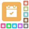 Schedule done rounded square flat icons - Schedule done flat icons on rounded square vivid color backgrounds.
