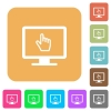 Monitor with pointing cursor rounded square flat icons - Monitor with pointing cursor flat icons on rounded square vivid color backgrounds.