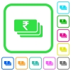 Indian Rupee banknotes vivid colored flat icons - Indian Rupee banknotes vivid colored flat icons in curved borders on white background