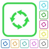 Rotate left vivid colored flat icons - Rotate left vivid colored flat icons in curved borders on white background