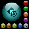Size lock icons in color illuminated glass buttons - Size lock icons in color illuminated spherical glass buttons on black background. Can be used to black or dark templates