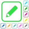 Pencil vivid colored flat icons in curved borders on white background - Pencil vivid colored flat icons