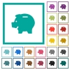 Left facing piggy bank flat color icons with quadrant frames - Left facing piggy bank flat color icons with quadrant frames on white background