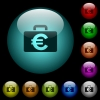 Euro bag icons in color illuminated glass buttons - Euro bag icons in color illuminated spherical glass buttons on black background. Can be used to black or dark templates