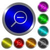 Zoom out icons on round luminous coin-like color steel buttons - Zoom out luminous coin-like round color buttons
