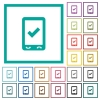Mobile ok flat color icons with quadrant frames - Mobile ok flat color icons with quadrant frames on white background