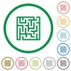Labyrinth flat icons with outlines - Labyrinth flat color icons in round outlines on white background