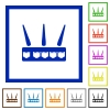 Wireless router flat framed icons - Wireless router flat color icons in square frames on white background
