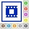 Movie stop flat framed icons - Movie stop flat color icons in square frames on white background