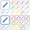 Knife outlined flat color icons - Knife color flat icons in rounded square frames. Thin and thick versions included.
